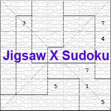 photograph about Jigsaw Sudoku Printable named World wide web Jigsaw X Sudoku - Free of charge Abnormal Diagonal Sudoku Puzzles